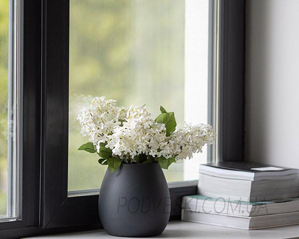 ваза декоративная для цветов и декора темно серая матовая купить Киев
