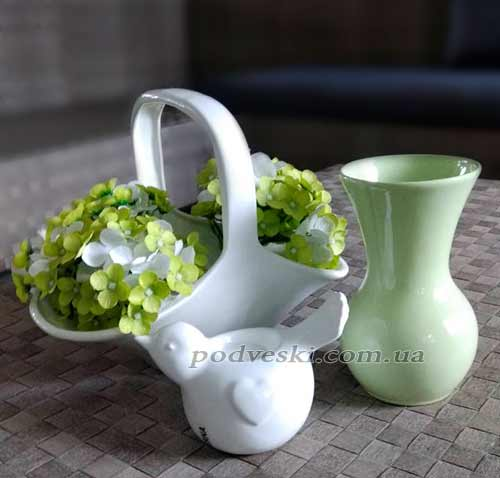 ваза декор керамика корзинка подсвечник птичка пташка из керамики