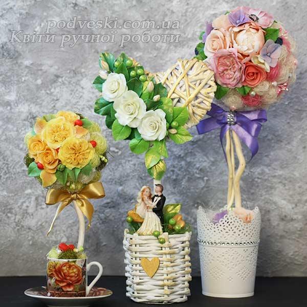 цветочное деревце топиарий с цветами купить подарок девушке декор