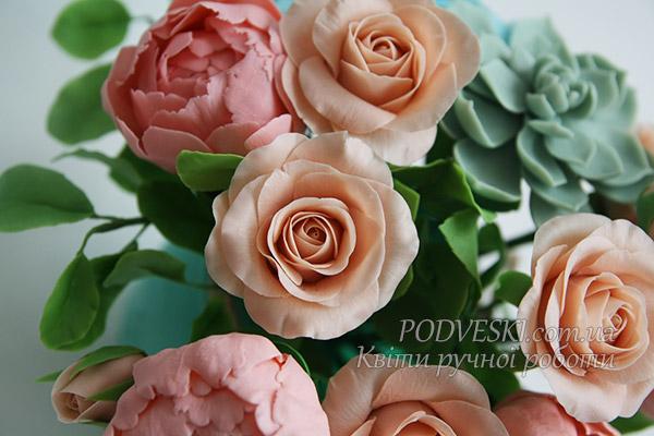 цветы ручной лепки подарок дорогой женщине букет