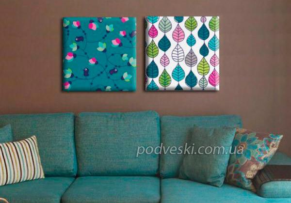 картина цветы зеленый бирюзовый декор интерьера картины модульные диптих