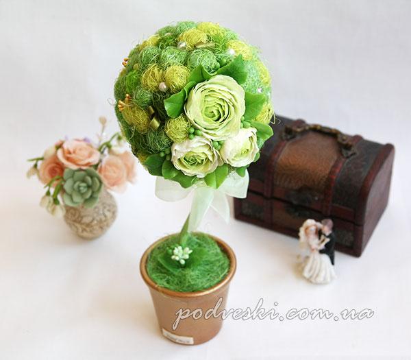 дерево декор топиарий цветы интерьер подарок девушке