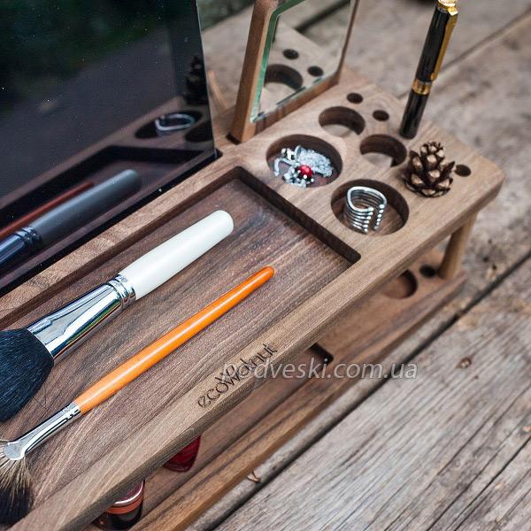 деревянная подставка на женский столик органайзер для косметики