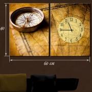 Картина с часами на холсте Путешествия