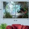 Картина с часами на холсте Павлины
