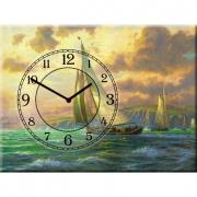 Настенные часы на холсте Яхта