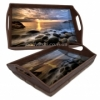 Деревянный поднос с ручками на подушке Вечернее море