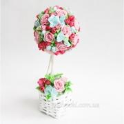 Дерево счастья, топиарий с цветами ручной лепки Дерево роз
