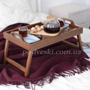 Поднос деревянный на ножках Breakfast in bed темный