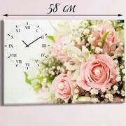 Настенные часы-картина Розы (натуральный холст)