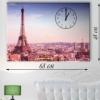 Часы настенные на натуральном холсте Париж