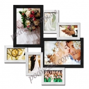 Мультирамка деревянная Волна любви на 7 фото черно-белая