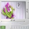 Часы настенные на натуральном холсте Тюльпаны
