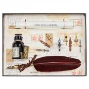 Набор для каллиграфии 530-36 коричневое перо (желтый металл)