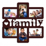 Мультирамка деревянная на 6 фото Family венге