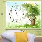 Настенные часы на холсте Домик на дереве