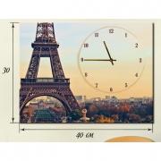 Настенные часы на натуральном холсте Париж 30x40 см