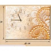 Настенные часы на натуральном холсте Жемчуга 30x40 см