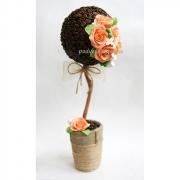 Топиарий кофейный Коралловые розы с ароматом кофе