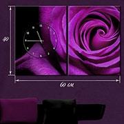 Панно на натуральном холсте, мультипанно-часы Роза