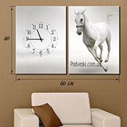 Панно на натуральном холсте, мультипанно-часы Белый конь
