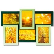 Мультирамка Зеленая на 6 фото, фоторамка-коллаж