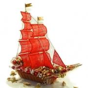 Подарочный корабль из конфет Алые паруса