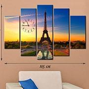 Мультипанель на холсте с часами Закат в Париже