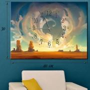 Настенные часы на холсте Пустыня Мохаве