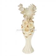 Ваза керамическая напольная Барокко. Розы Жемчужина 38 см