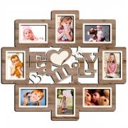 Деревянная фоторамка коллаж Family на 8 фото
