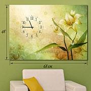 Часы-картина на натуральном холсте Лилия