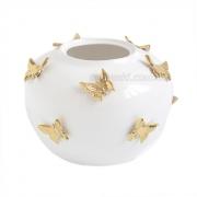Ваза керамическая Бабочки белая с золотом 22 см