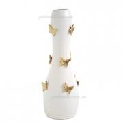Ваза керамическая напольная Бабочки белая с золотом 48 см