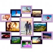 Фоторамка на 13 фото деревянная Симметрия фиолет