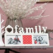 Фоторамка-коллаж деревянная Family 3 фото белая