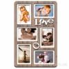Деревянная фоторамка-коллаж Love на 6 фото дуб бордо