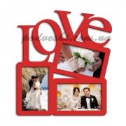 Фоторамка деревянная с надписью Love-3.2 красная