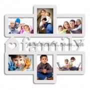 Мультирамка деревянная на 6 фото Family белая