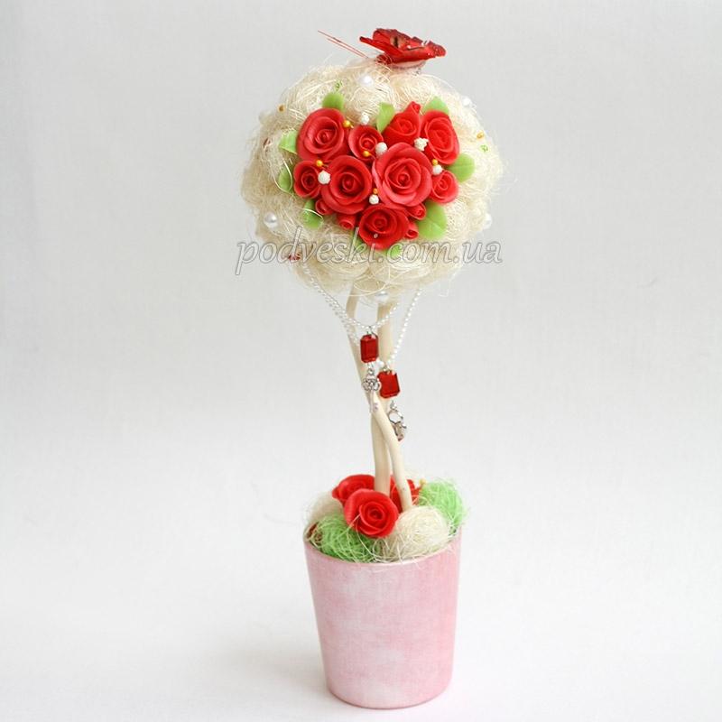 подарок любимой девушке, жене топиарий цветы сердце
