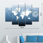 Модульная картина-часы на натуральном холсте Карта мира