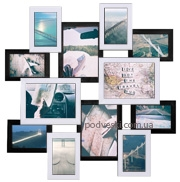 Мультирамка Путешествие белое на черном на 12 фото
