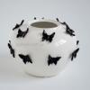 Ваза керамическая Бабочки белая с черным 22 см