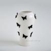 Ваза керамическая Бабочки белая с черным 38 см