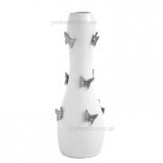 Ваза напольная Бабочки белая с платиной 48 см