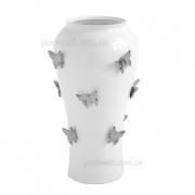 Ваза керамическая Бабочки белая с платиной 38 см