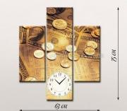 Модульная картина с часами Время-деньги