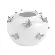 Ваза керамическая Бабочки белая с платиной 22 см
