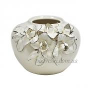 Керамическая ваза-шар Ирисы платина 22 см