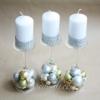 Новогодние подсвечники-бокалы и свечи 3 шт